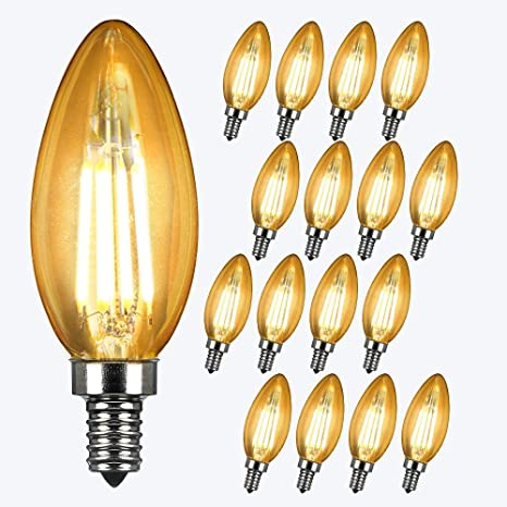 16 x LED Bombilla de Edison Vintage, Lámpara 4W E14 C35 2700K Luz Blanca Cálida