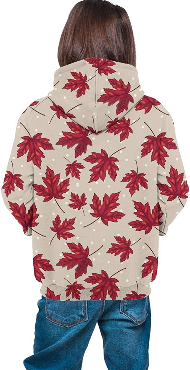Red Maple Leaf2 Men 3D Print Pullover Hoodie Sweatshirt with Front Pocket