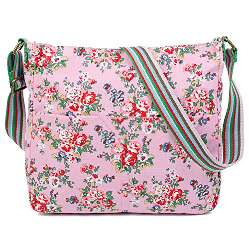 Canvas Design Pink Trendy Cross Messenger London Bag Flower Womens Craze Shoulder Body AqEPIE
