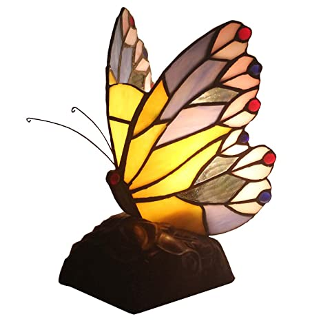 Bieye L11406 8 Inch Butterfly Tiffany Style Stained Glass Accent Table Lamp With Zinc Base