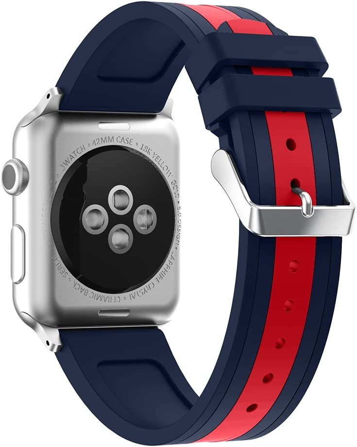 SEMILU Compatible with Apple Watch Band, Soft Silicone Strap Replacement Bracelet Band with Stainless Metal Clasp Compatible with iWatch SE Series 6/5/4/3/2/1 (42/44mm-Dark Blue/Red)