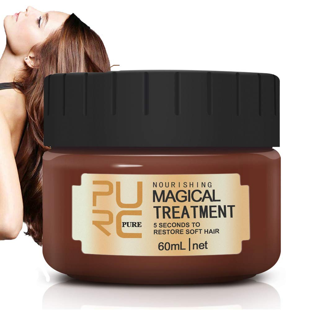 Magical Hair Treatment Mask, Advanced Molecular Hair Roots Treatment Professtional Hair Conditioner, 5 Seconds to Restore Soft Hair, Deep Conditioner Suitable for Dry & Damaged Hair-60ml by NIFEISHI