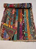 Tribal Asian Textiles Indian Ikat Kantha Quilt Embroidered Bedspread Throw Gudri Queen Blanket 003