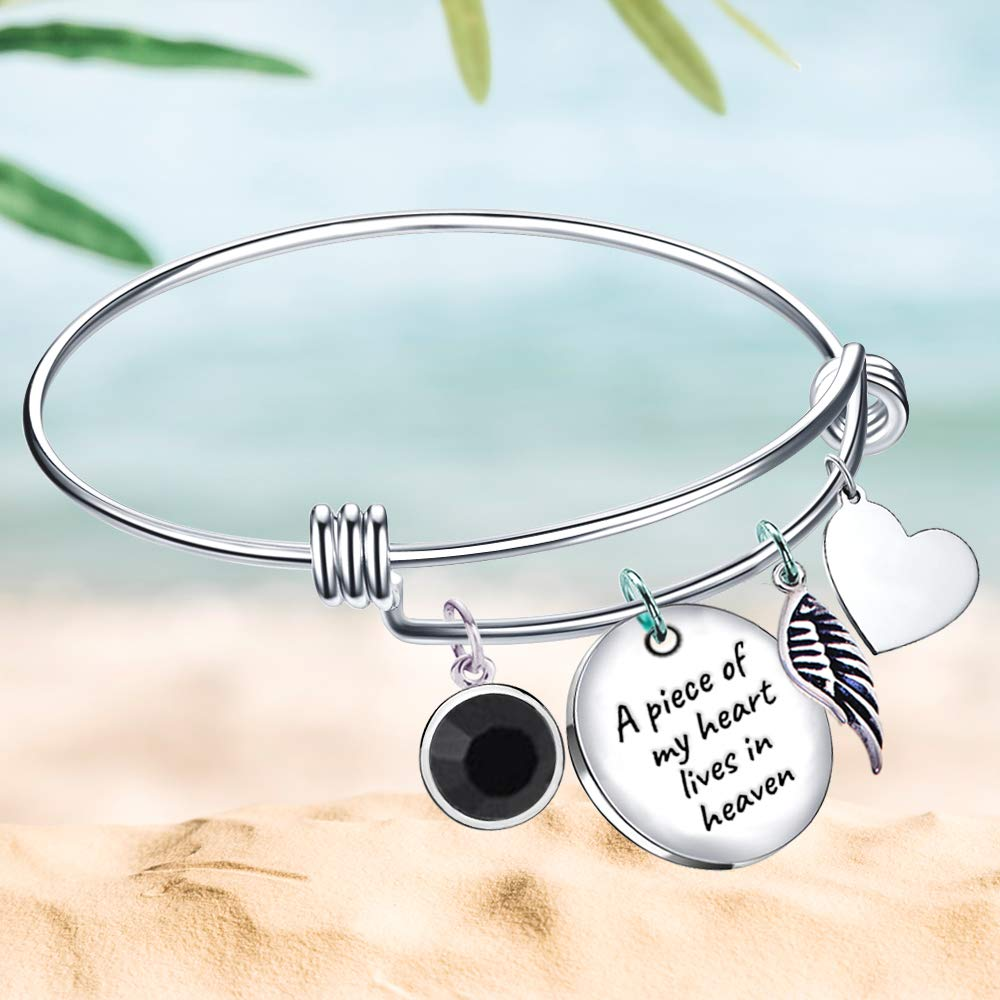 Sympathy Gift Paris Selection Memorial Bangle Bracelet A Piece of My Heart Lives in Heaven