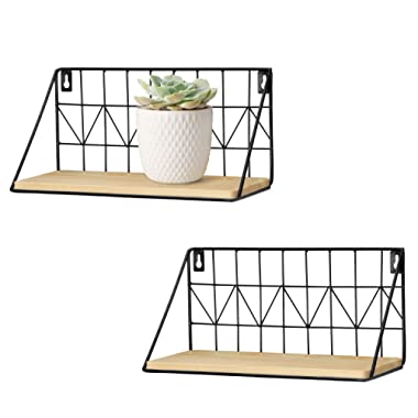 Mkono 2 Set Floating Shelves Wall Mounted Rustic Metal Wire Storage Shelves for Picture Frames, Collectibles, Decorative Items, Great for Living Room, Office, Bedroom, Bathroom, Kitchen, 11 1/2 Inches