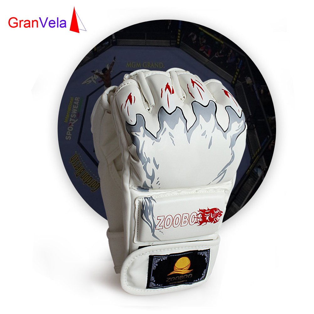 Granvela Training Boxing Gloves ZOOBOO Half Finger Punching Gloves with Enhancing Wrist Band for Boxing Training and Kongfu Training One Size Fits All.8 oz-Tiger Paw Z851118