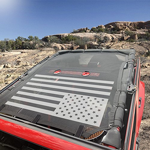 USA Flag Sukemichi Jeep JK Full Mesh Sunshade Bikini Top Cover for JK Wrangler Sahara Rubicon 4 Doors 2007-2017