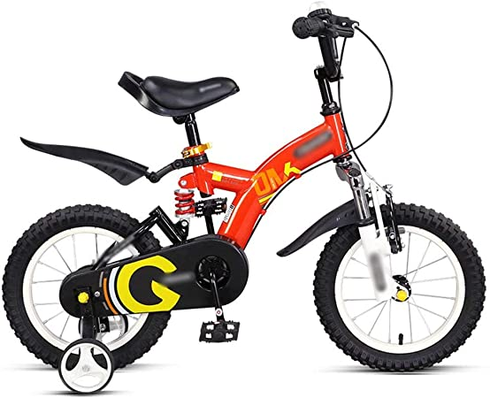 NZ-Childrens bicycles Bicicletas para niños 14 Pulgadas 16 Pulgadas Rojo Amarillo Naranja Seguro y Estable Bicicleta Que Absorbe los Golpes (Color: Rojo, Tamaño: 16 Pulgadas): Amazon.es: Hogar