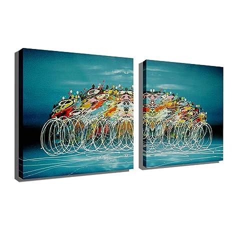 Amazon.com: HUYYA Pinturas al óleo para salón/dormitorio ...