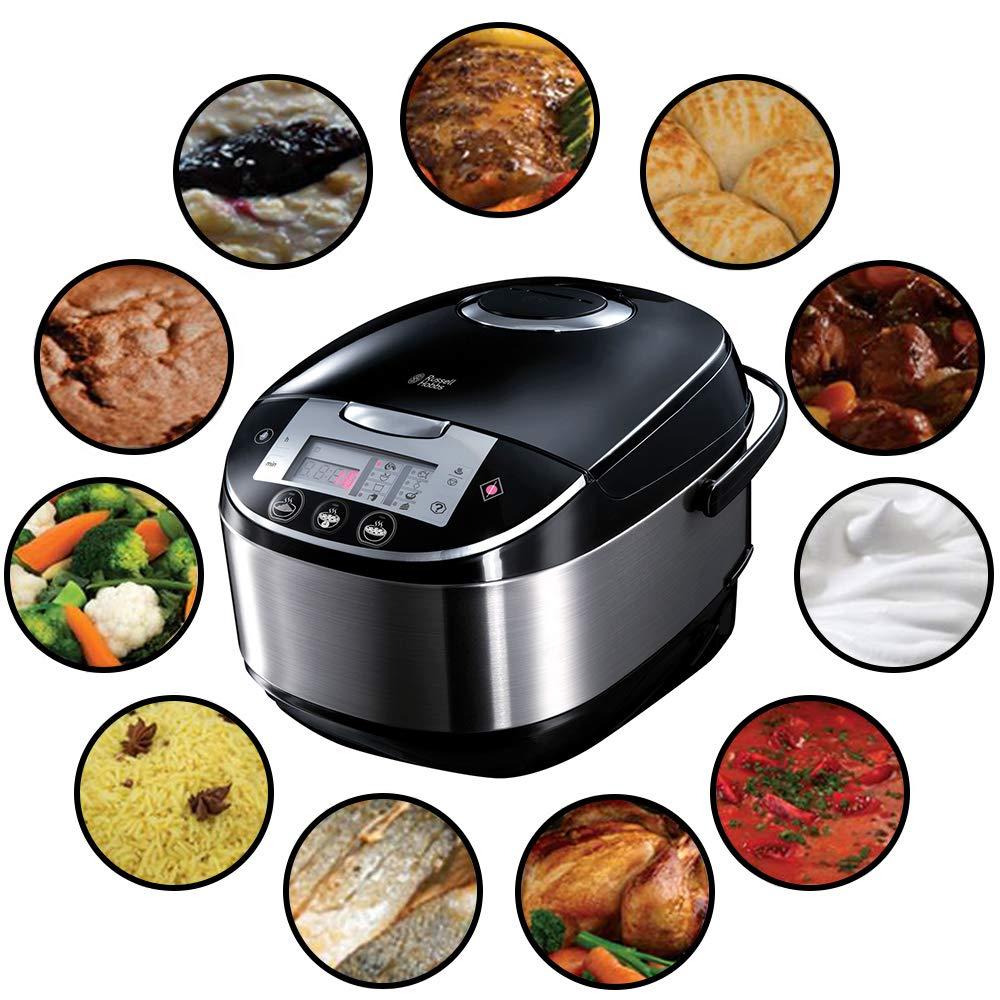 Russell Hobbs 21850-56 Multicooker Cook, Home, 11 Programmes de cuisson, Accessoires de cuisson, Couvercle anti-condensation, 5.0 L, 900 Watts, Acier inoxydable/Noir product image