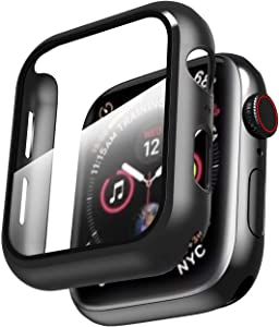 Smiling Hard PC Case Compatible with Apple Watch Series 6/SE/Series 5/Series 4 44mm with Built in Tempered Glass Screen Protector -Black