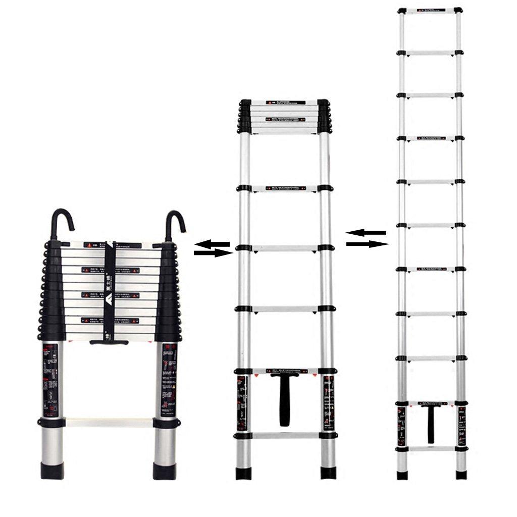 Escalera telesc/ópica HWF 2.0M Escalera de extensi/ón telesc/ópica Escalera Recta Fold Herringbone Ingenier/ía /Ático Hogar Aleaci/ón de Aluminio Color : with Hook