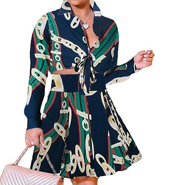 Conjunto de 2 Piezas de Vestido para Mujer, Blusa de Manga Larga ...
