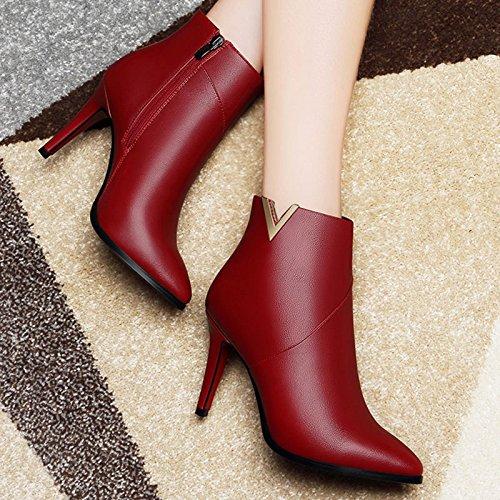 AJUNR-Zapatos De Mujer De Moda Martin Botas En Europa Y América Los Lados Ahusados Cremallera Botas Femenina Fina Con Color Sólido Short-Boots Femenina Elegante Y Versátil Marea Rojo 36 38