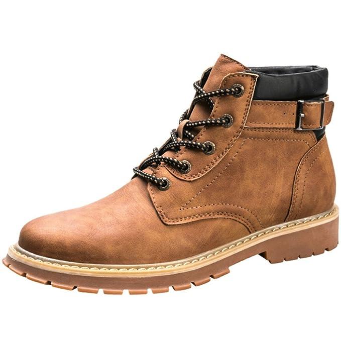 Botines Para Hombre Con Cordones Invierno Cálido Impermeable Antideslizante Trabajo Al Aire Libre Senderismo Martin Combat Bootie Desert Boot,Brown-43: ...