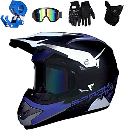 mit Handschuhe Maske Brille Cross DH Enduro Quad Mountainbike BMX MTB Helm f/ür Damen Herren Erwachsene-Schwarz DOT-Zertifizierung LWAJ Motocross Motorradhelm Downhill Fullface Helm