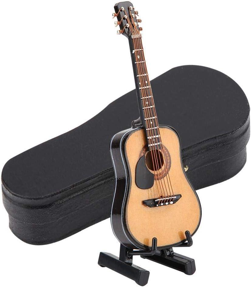 Modelo de Guitarra de Madera En Miniatura Modelo de Casa de Muñecas Exhibición de Instrumentos Musicales Con Soporte y Estuche Accesorios de Casa de Muñecas Adornos de Artesanía Pequeña(#01)
