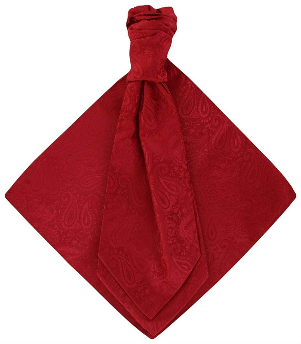 Michelsons of London Mens Tonal Paisley Cravat and Pocket Square Set Bright Red