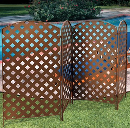 Outdoor Yard Privacy Fence - 4 Sections- Bronze Metal