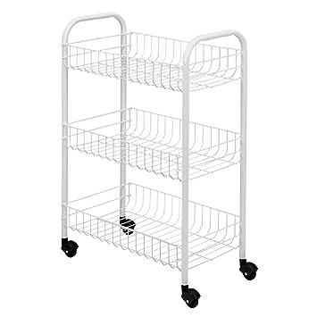 Metaltex Siena- Carro multiuso con ruedas, Blanco, 3 Cestos: Amazon.es: Hogar