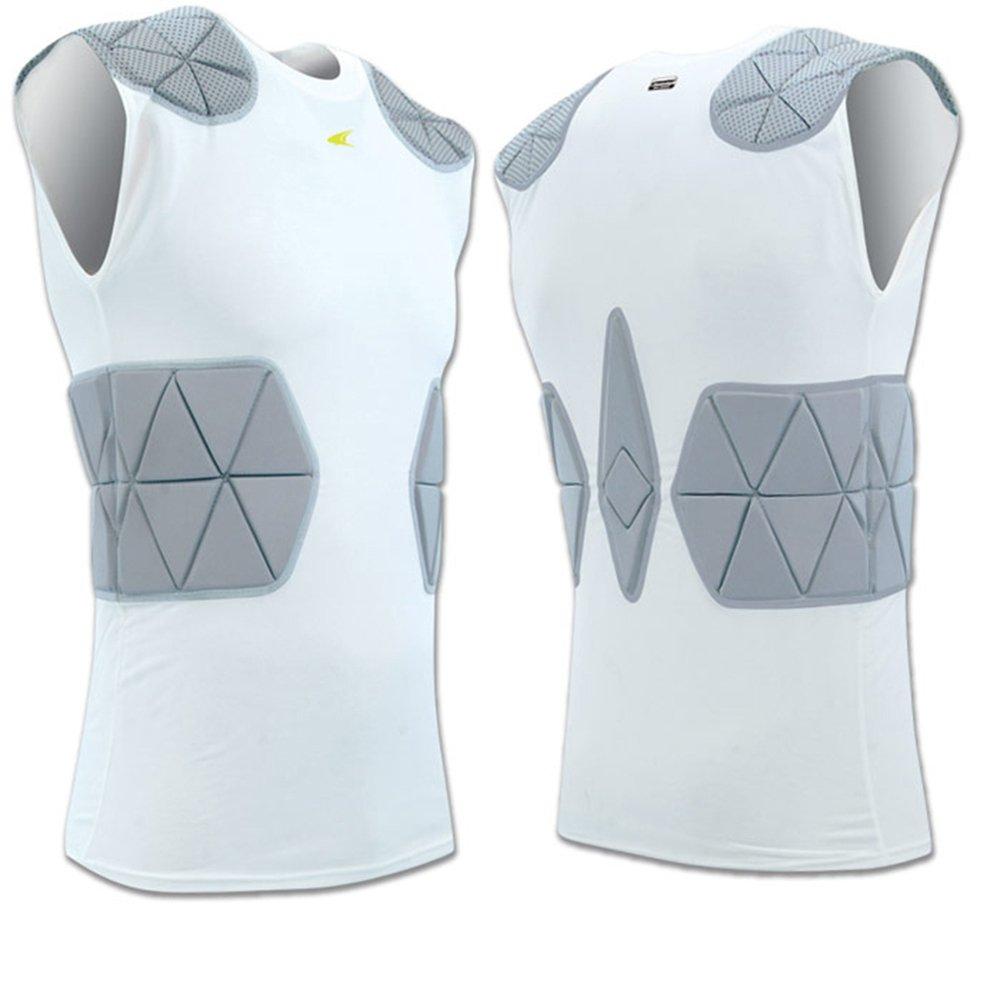 FJU6 Champro TRI-FLEX Compression ARMOUR Shirt PADDED CH White ADULT 2XL