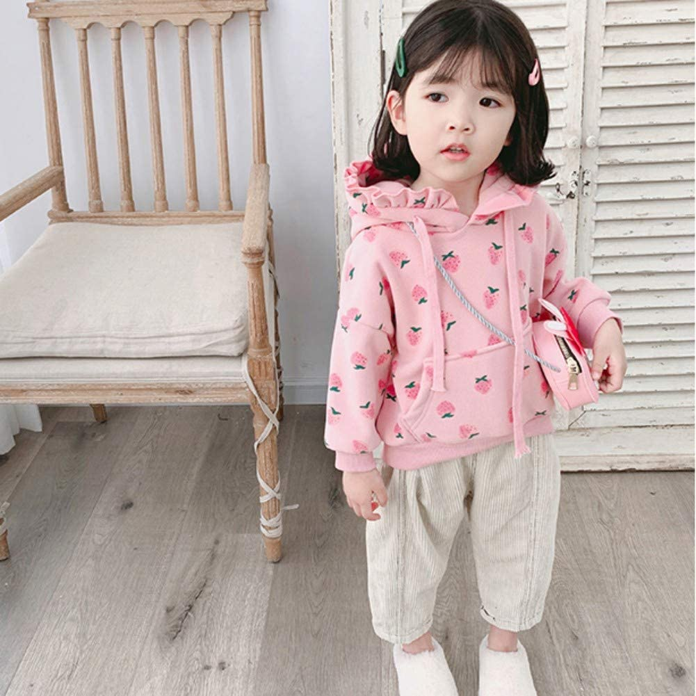 Strawberry Hoodies Baby Girl Warm Jumper Thicken Velvet Coat Kid Top for Age 1-7 Years Old