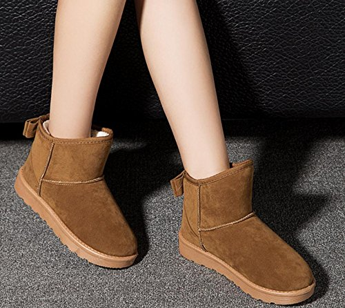 NSXZ The new snow boots female winter short tube butterfly knot leather cute flat cotton short student YELLOW-90160CM QZTG9