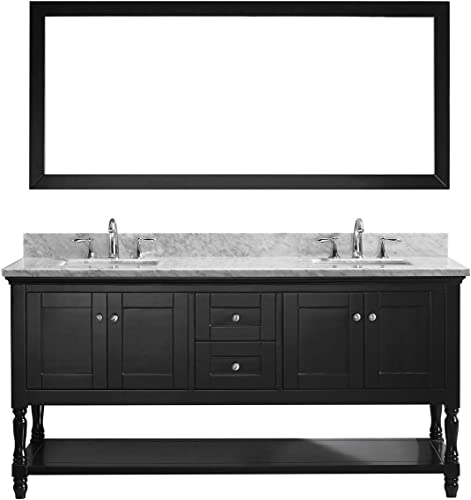 Virtu USA MS-3132-WMRO-WH Julianna 32 Single Bathroom Vanity in White with Marble Top and Round Sink and Mirror 32 inches