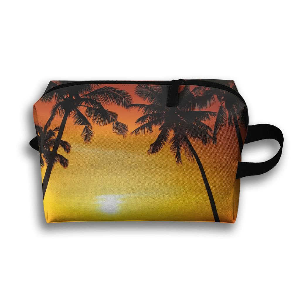 chic Pengyong Sunset Seaside Palm Tree Small Travel Toiletry Bag Super Light Toiletry Organizer For Overnight Trip Bag