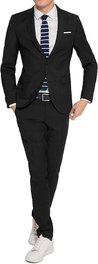 Michaelax Fashion Trade Konfirmationsanzug Slim Fit Herren Anzug in Schwarz oder Blau, LuigiElio (880 1420)