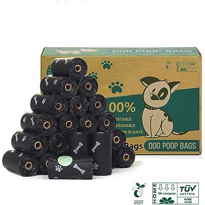 Green Maker 100% Compostajes & Biodegradables Caca Perro 360 Bolsas Excrementos Perros 30% más Grueso Que Otros Hechos de Almidón de Maíz con Europea EN13432 y Home Compost Certificación (Negro)
