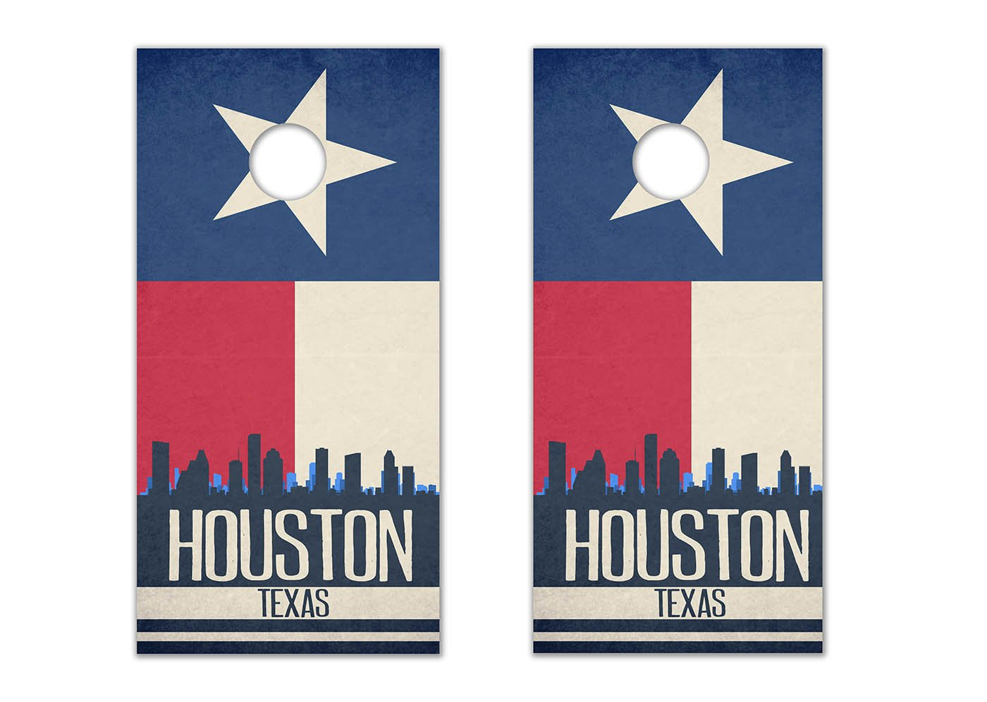 Houston State Flag Skyline - Cornhole Crew - ACA Regulation Size Cornhole Board Decals