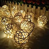 niceEshop(TM) Rattan Ball Christmas String Lights Warm White, 3M/10Ft 20 LED Fairy Lights Plug in for Wedding Party Holiday Home Bedroom Decoration
