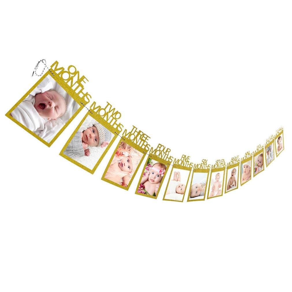 Photo Banderole 0-1 ans Mensuel Photo Album Banniere pour Bebe Premier Anniversaire (Rose) Ouneed®