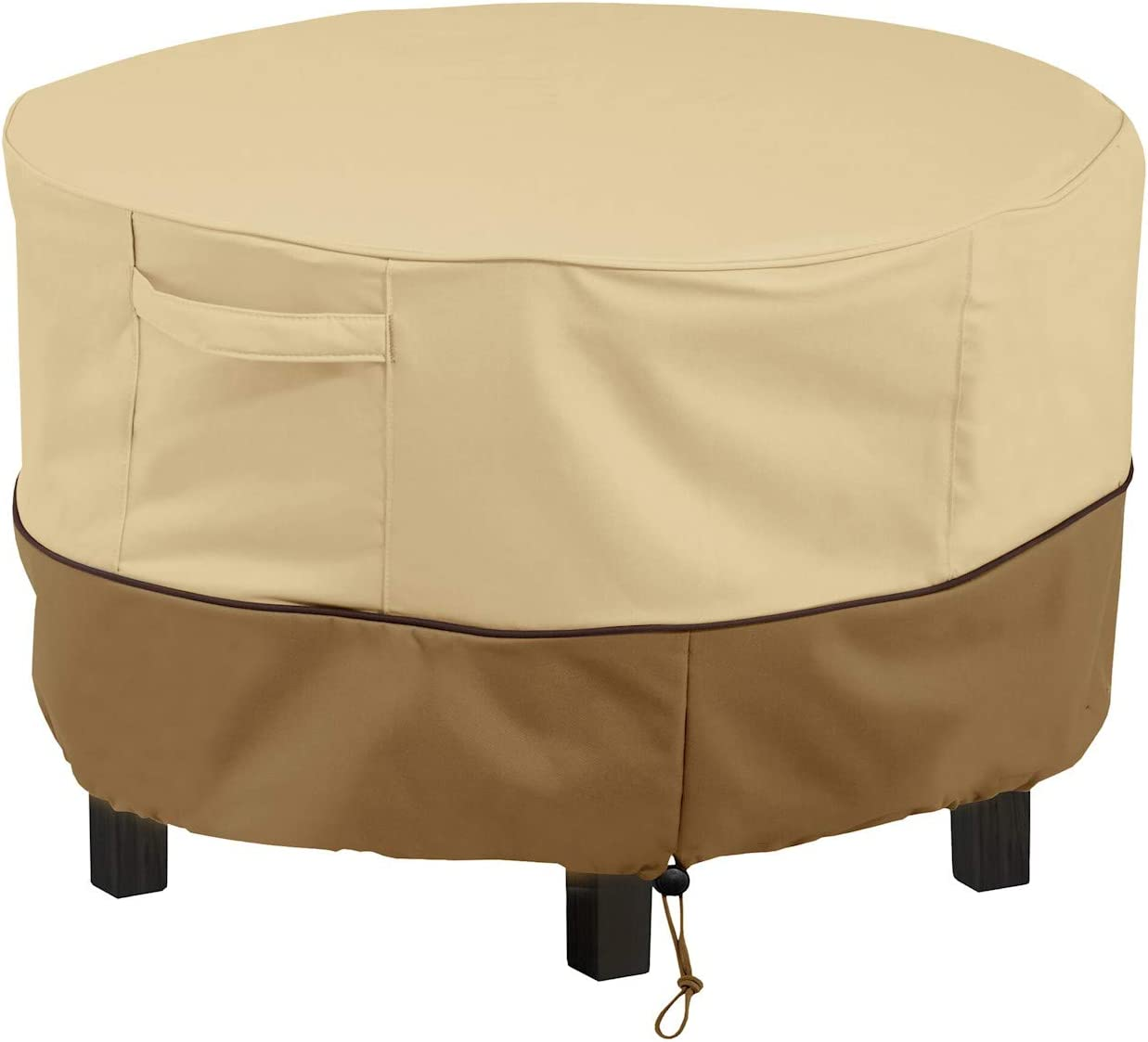 """HOME DISTRICT Patio Table Cover - Round Outdoor Dining Table Furniture Protector with Adjustable Toggles, Click Close Straps, 48"""" x 26"""""""