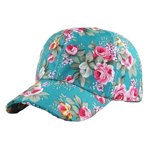 3b5666e928e Vcenty Women s Floral Print Adjustable Baseball Cap Snapback Hat Ponytail Baseball  Cap (Green)
