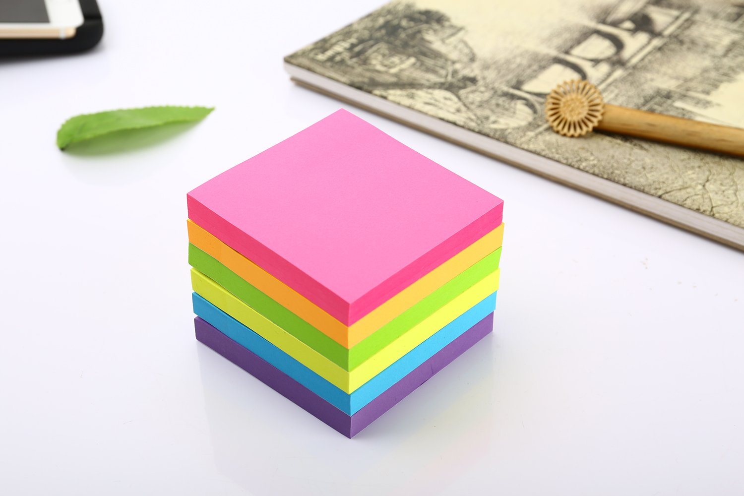 Sticky Notes, 3 in x 3 in, 12 Pads/Pack,100 Sheets/Pad, 6 Bright Colors Self-Stick Notes for Home,Office, School, Easy Post. by ERBAO (Image #3)