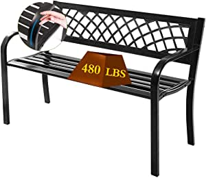 Patio Bench Outdoor Garden Bench,Metal Pack Bench with Armrests,Outside Porch Chair,480lbs Cast Iron Sturdy Steel Frame Furniture Chair for Yard Porch Entryway Lawn Decor Deck,L45.5 xD21.7 xH30,Black