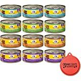 Wellness Minced Grain-Free Wet Cat Food Variety Pack - 4 Flavors (Tuna, Turkey, Chicken, and Turkey & Salmon) - 12 (5.5 Ounce) Cans - 3 of Each Flavor and Can Topper