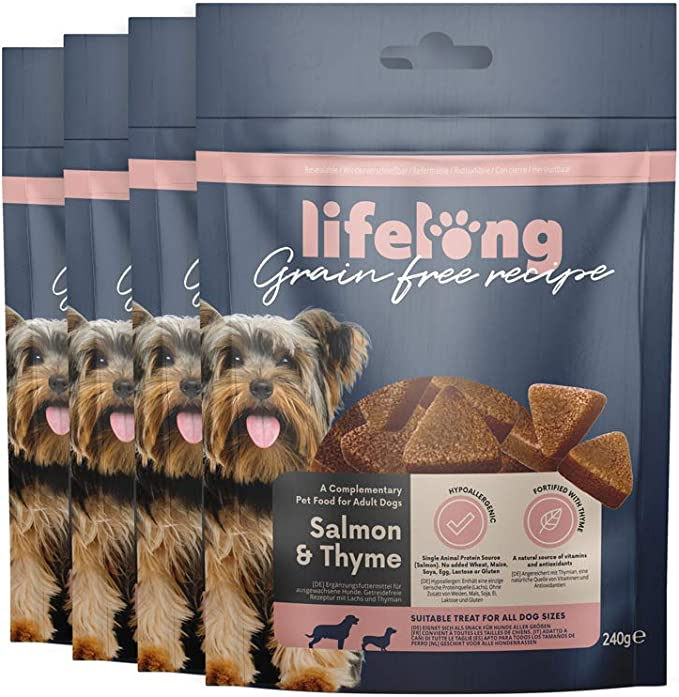 Marca Amazon - Lifelong - Treats para perros, sin trigo, con mono-proteína, con salmón, zanahoria y tomillo (4 packs x 240gr)