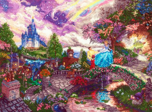 Disney Cross Stitch - M C G Textiles Disney Dreams Collection by Thomas Kinkade Cinderella Wishes, 16-Inch by 12-Inch, 18 Count
