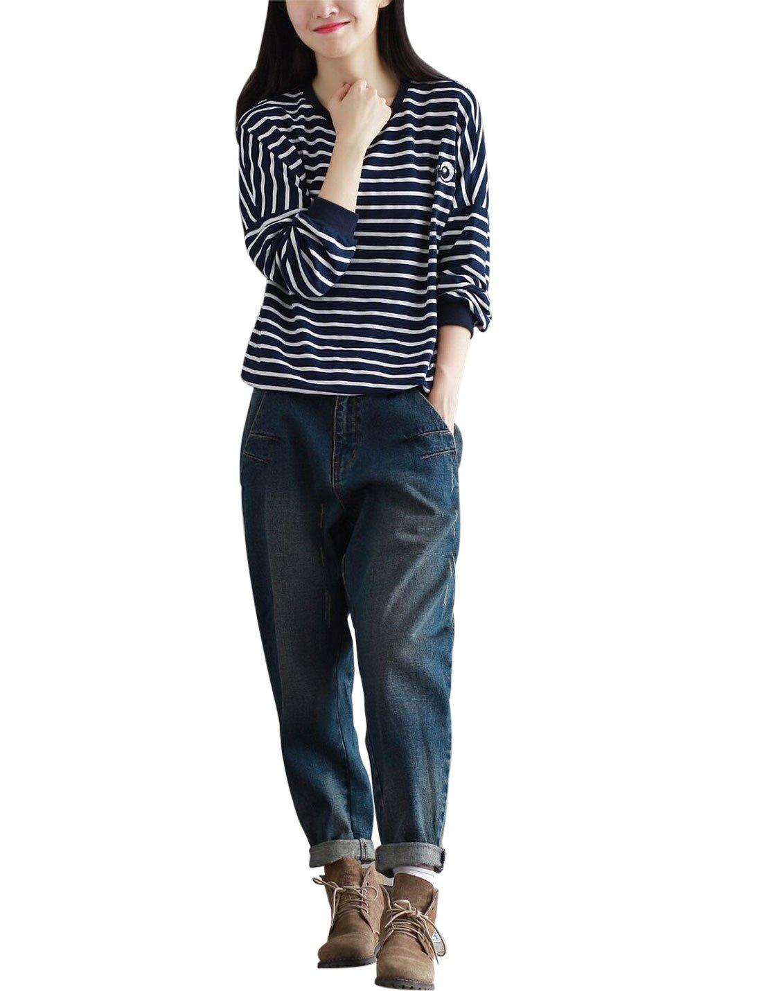 Yeokou Women's Casual Loose Distressed Baggy Harem Denim Jeans Cropped Pants (Large, Dark Blue) by Yeokou (Image #3)