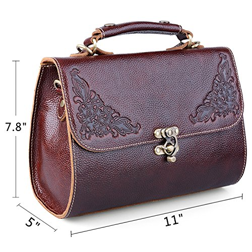 a1d4f123f516 Jack Chris Small Vintage Satchel Leather Handbags Floral Purse Top Handle  Crossbody Bag for Women  Handbags  Amazon.com