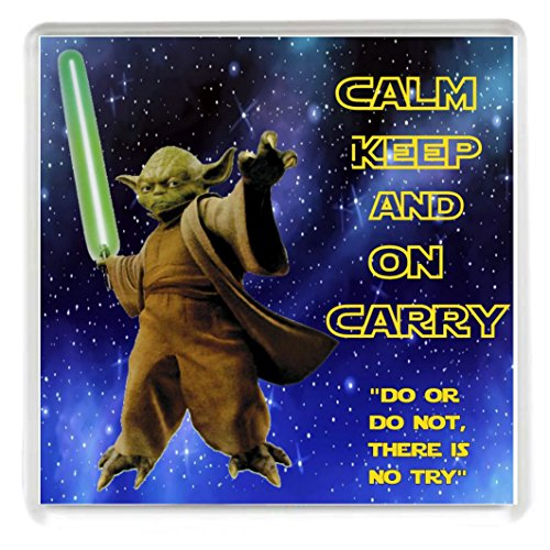 Yummy Grandmummy Calm Keep And On Carry Drinks Coaster With A Picture Of Yoda From The Star Wars Films. A Unique Birthday Or Christmas Stocking Filler Gift For A Star Wars Fan.