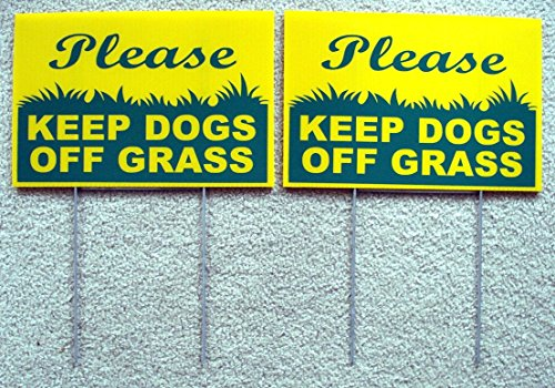 GVGs Shop 2 Pcs Tops Popular Please Keep Dogs Grass Warning Signs Against Dirt Protection Outdoor Size 8