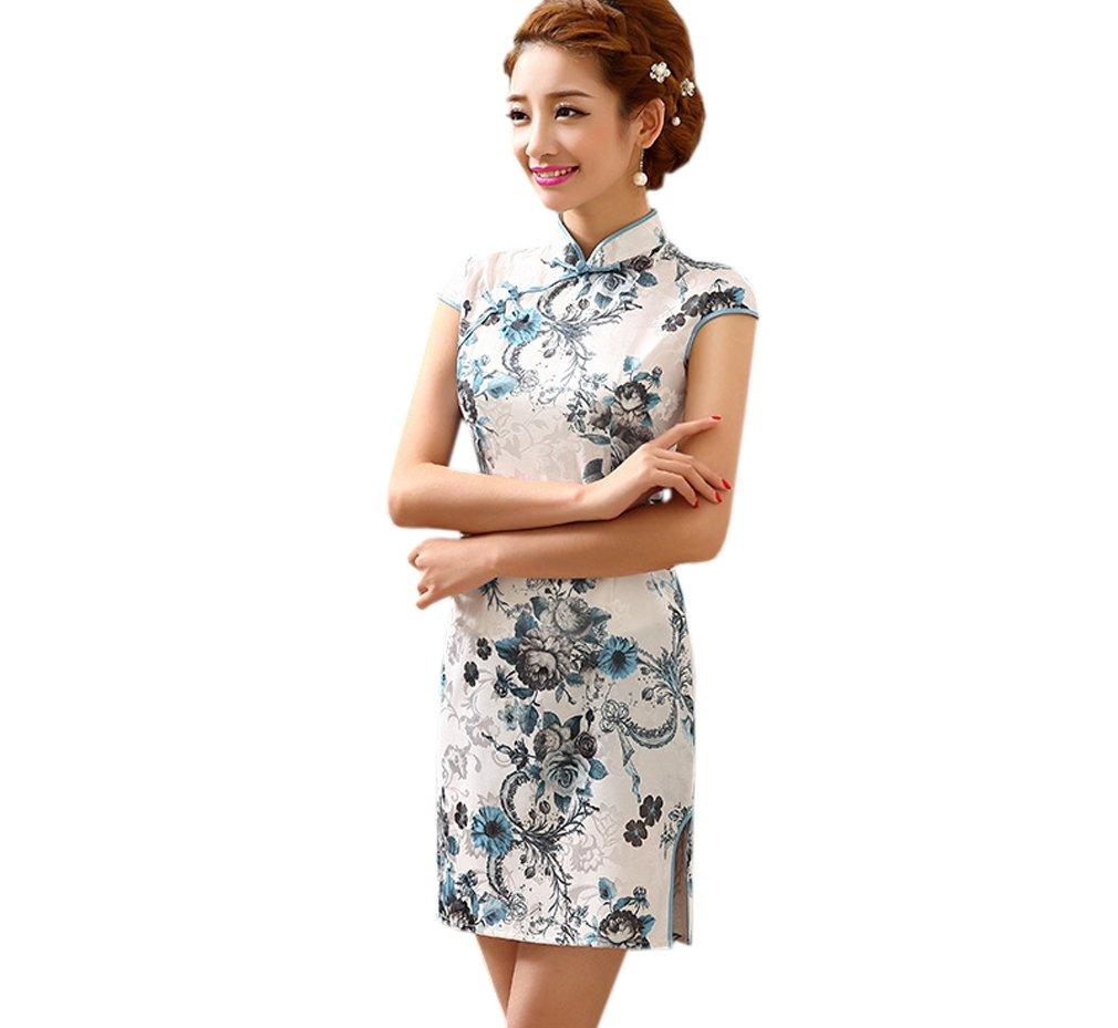 YueLian Womens Summer Cotton Short QiPao Dress with Cap Sleeves (China S= US 0, white)