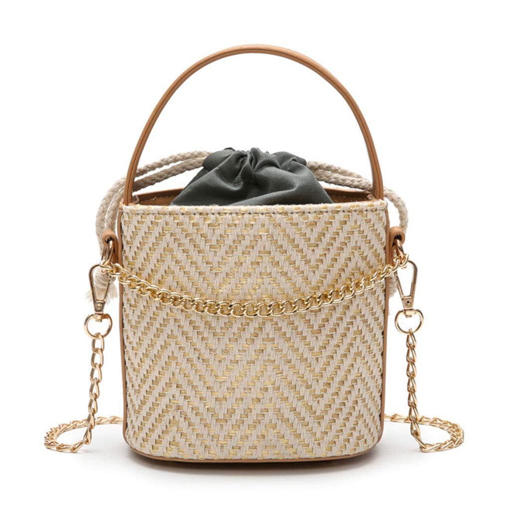 Beige Shoulder Bag, VIccoo Vintage Messenger Women Bucket Shoulder Bag Handbag Hobo Chain Straw Beach Bags Beige