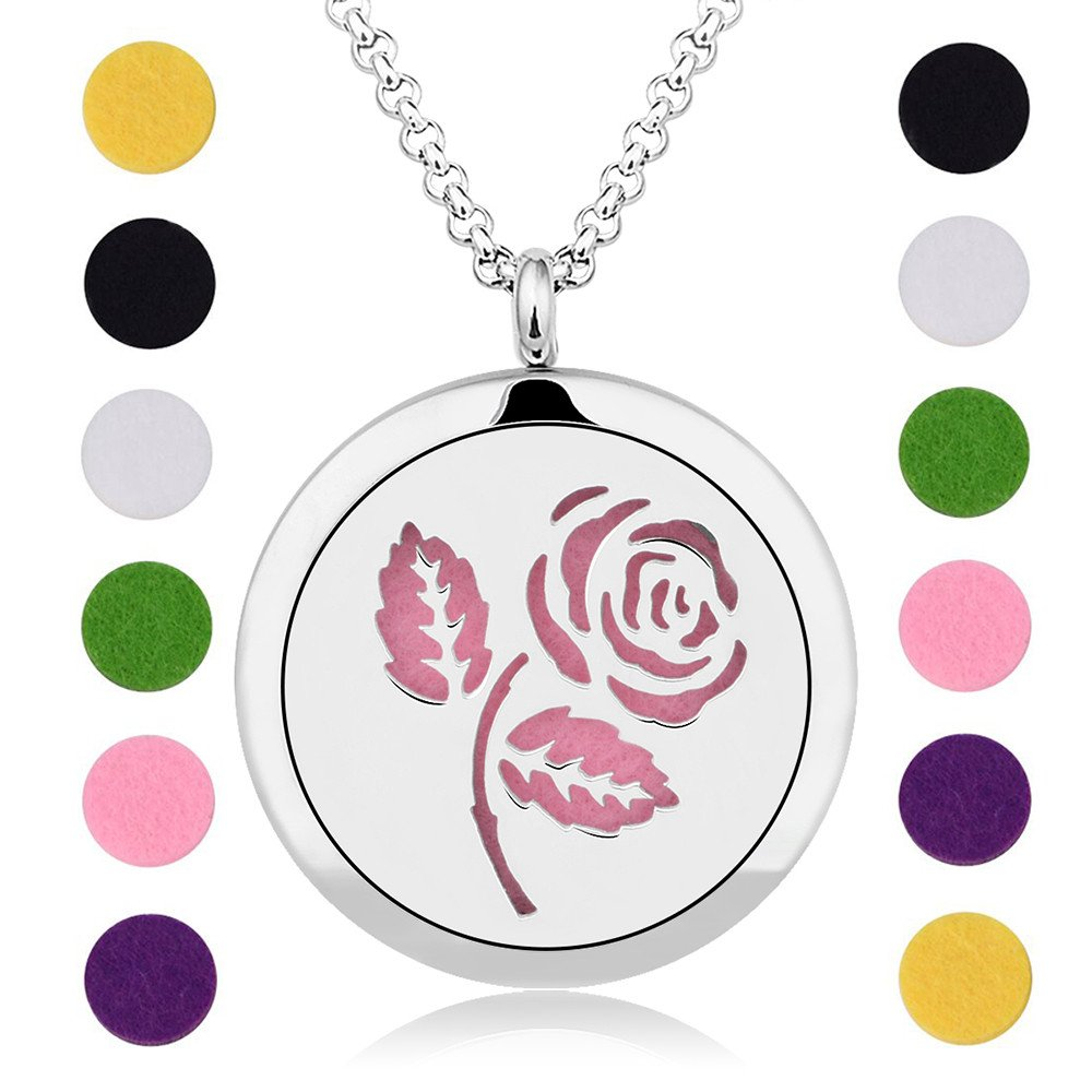 INFUSEU Rose Aromatherapy Essential Oil Diffuser Necklace Flower Design Locket Pendant & 12PCS Refill Pads with 28'' Stainless Steel Chain Express Love perfume Jewelry for women girls by INFUSEU (Image #2)