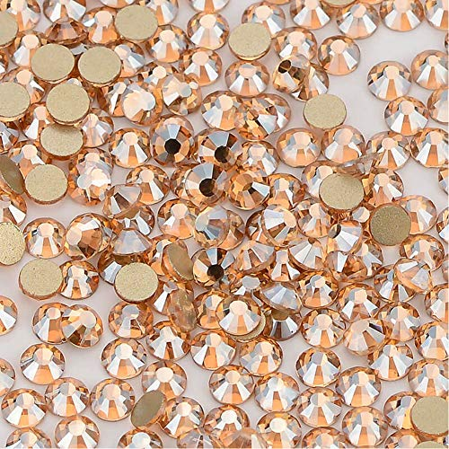 Famleaf Clear Crystal Glass Stones Nail Rhinestones Non-hotfix Flatback Rhinestone For Nails Art Makeup Clothes (SS16, Champagne)