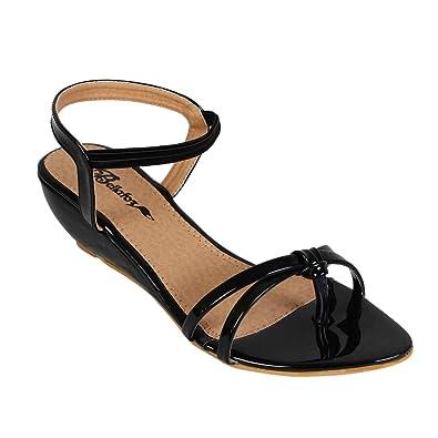 Bellafoz Women's Black Heeled Sandals (41): Buy Online at Low ...